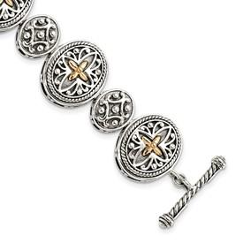 Sterling Silver w/14k 8in Bracelet
