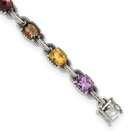 Sterling Silver Amethyst/Citrine/Garnet/Peridot/Smoky Quartz Bracelet