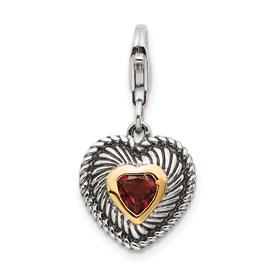 Sterling Silver w/14k Garnet Antiqued Charm