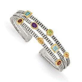 Sterling Silver w/14k 1.74tw Gemstone Cuff Bracelet