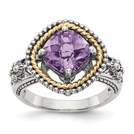 Sterling Silver w/14k Amethyst Ring