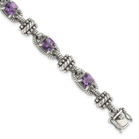 Sterling Silver w/14k Amethyst Antiqued Bracelet