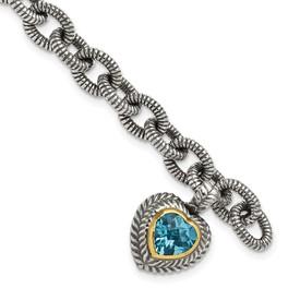 Sterling Silver w/14k Swiss Blue Topaz Heart Bracelet