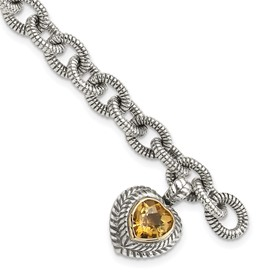 Sterling Silver w/14k Citrine Heart Bracelet