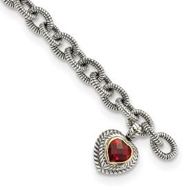 Sterling Silver w/14k Garnet Heart Link Bracelet
