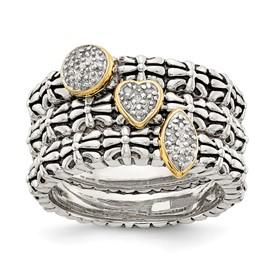 Sterling Silver w/14k Diamond 3 Stackable Rings