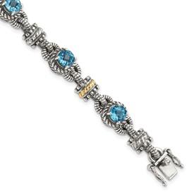 Sterling Silver w/14k Swiss Blue Topaz Bracelet