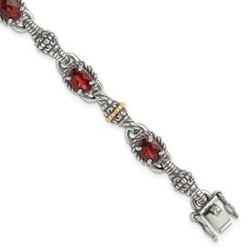 Sterling Silver w/14k Oval Garnet Bracelet