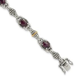 Sterling Silver w/14k Rhodolite Garnet Bracelet