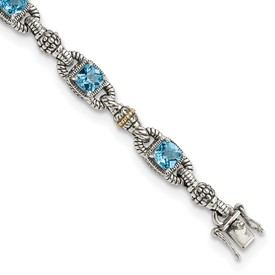 Sterling Silver w/14k Sky Blue Topaz Bracelet