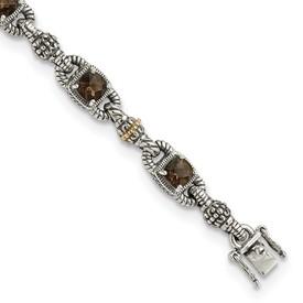 Sterling Silver w/14k Smoky Quartz Bracelet