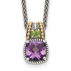 Sterling Silver w/14k Amethyst & Peridot Necklace