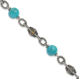 Sterling Silver w/14k Reconstructed Turquoise Bracelet