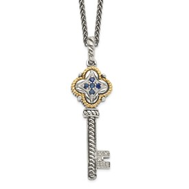 Sterling Silver w/14k Sapphire & Diamond Key Necklace