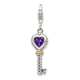 Sterling Silver w/14k Amethyst Antiqued Key w/Lobster Clasp Charm