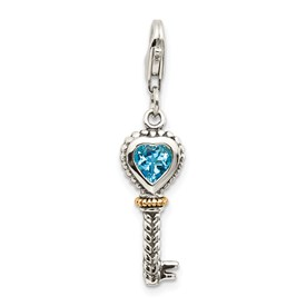 Sterling Silver w/14k Blue Topaz Antique Key w/Lobster Clasp Charm