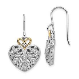Sterling Silver w/14k Diamond Vintage Earrings
