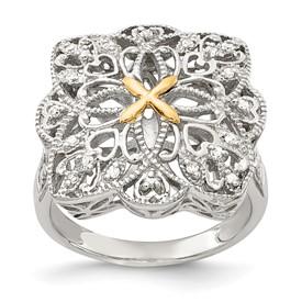 Sterling Silver w/14k Diamond Vintage Ring