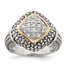 Sterling Silver w/14k 1/10ct. Diamond Ring