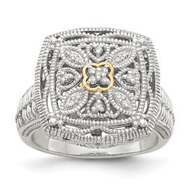 Sterling Silver w/14k Diamond Ring
