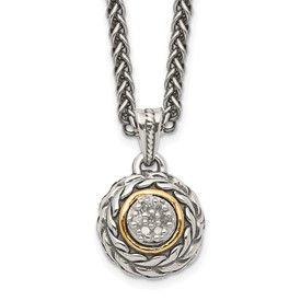 Sterling Silver w/14k Diamond Pendant