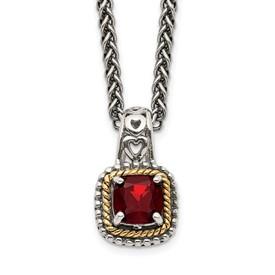 Sterling Silver w/14k Garnet Necklace