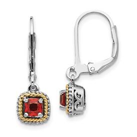 Sterling Silver w/14k Garnet Earrings