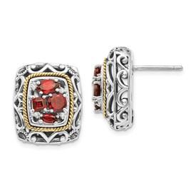 Sterling Silver w/14k Diamond & Garnet Earrings