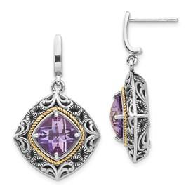 Sterling Silver w/14k Amethyst Earrings