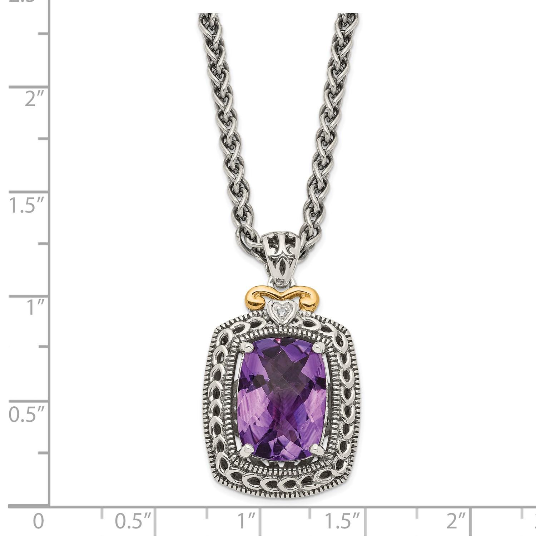 0ca63da92e3d Plata con 14 k amarillo oro diamante y amatista Collar de estilo Vintage