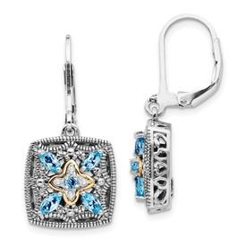 Sterling Silver w/14k Diamond & Blue Topaz Earrings