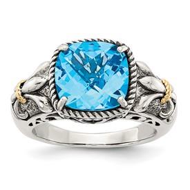 Sterling Silver w/14k Blue Topaz Ring