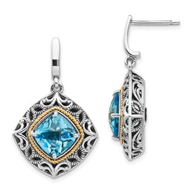 Sterling Silver w/14k Blue Topaz Earrings