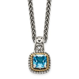 Sterling Silver w/14k Blue Topaz Necklace