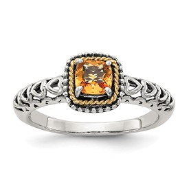 Sterling Silver w/14k Citrine Ring