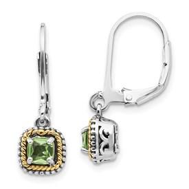 Sterling Silver w/14k Peridot Earrings