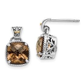 Sterling Silver w/14k Smoky Quartz Earrings