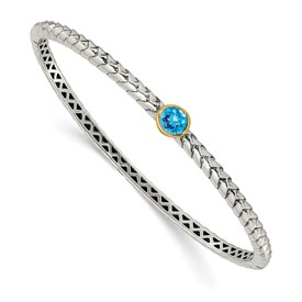 Sterling Silver w/14k  Blue Topaz Bangle Bracelet