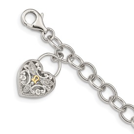 Sterling Silver w/14k Diamond Heart Lock and Key Bracelet