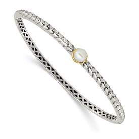 Sterling Silver w/14k 6mm FW Cultured Pearl Bangle Bracelet