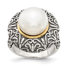 Sterling Silver w/14k 12mm FW Cultured Pearl Ring