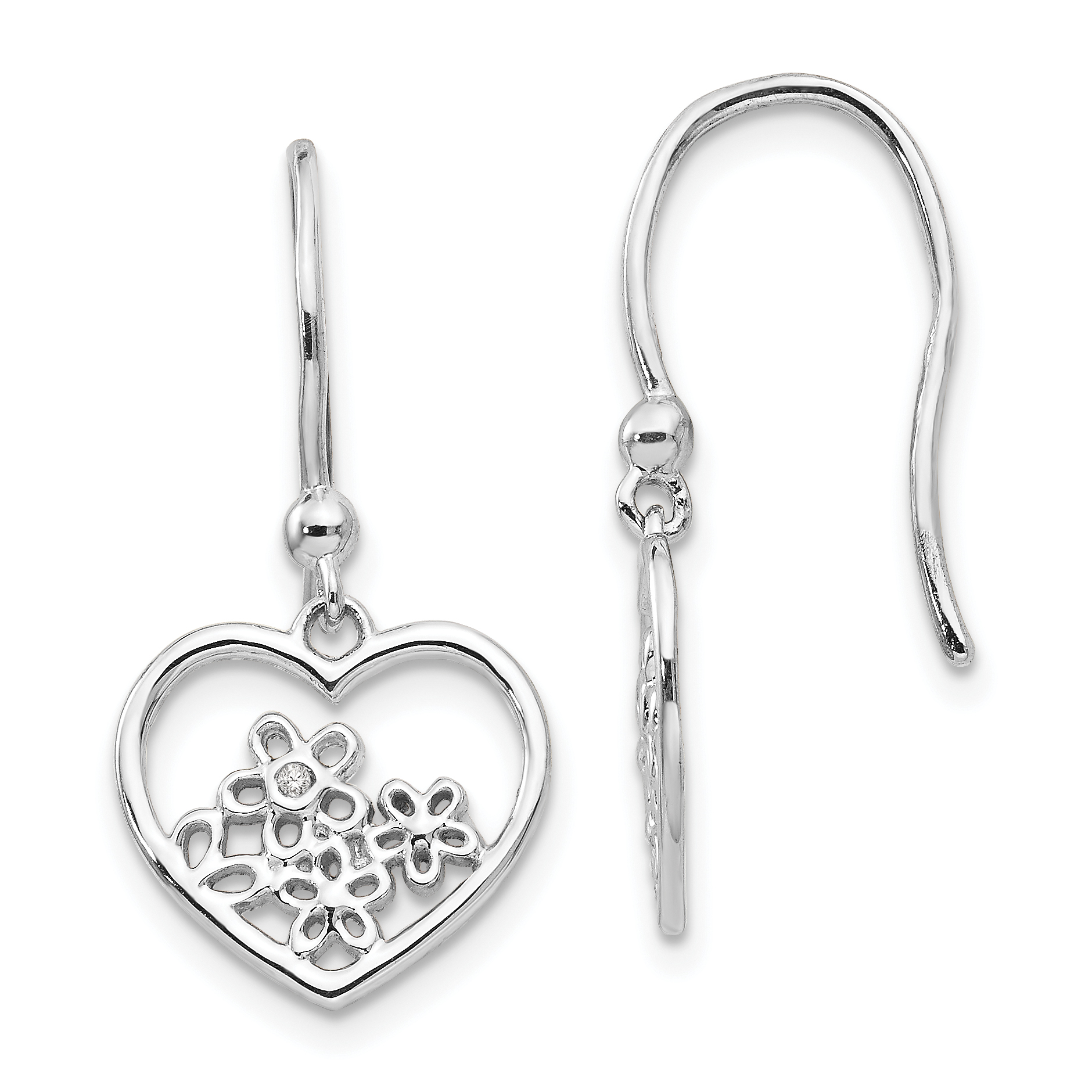 Ss White Ice Heart Shaped W Flower Shepherd Hook Earrings