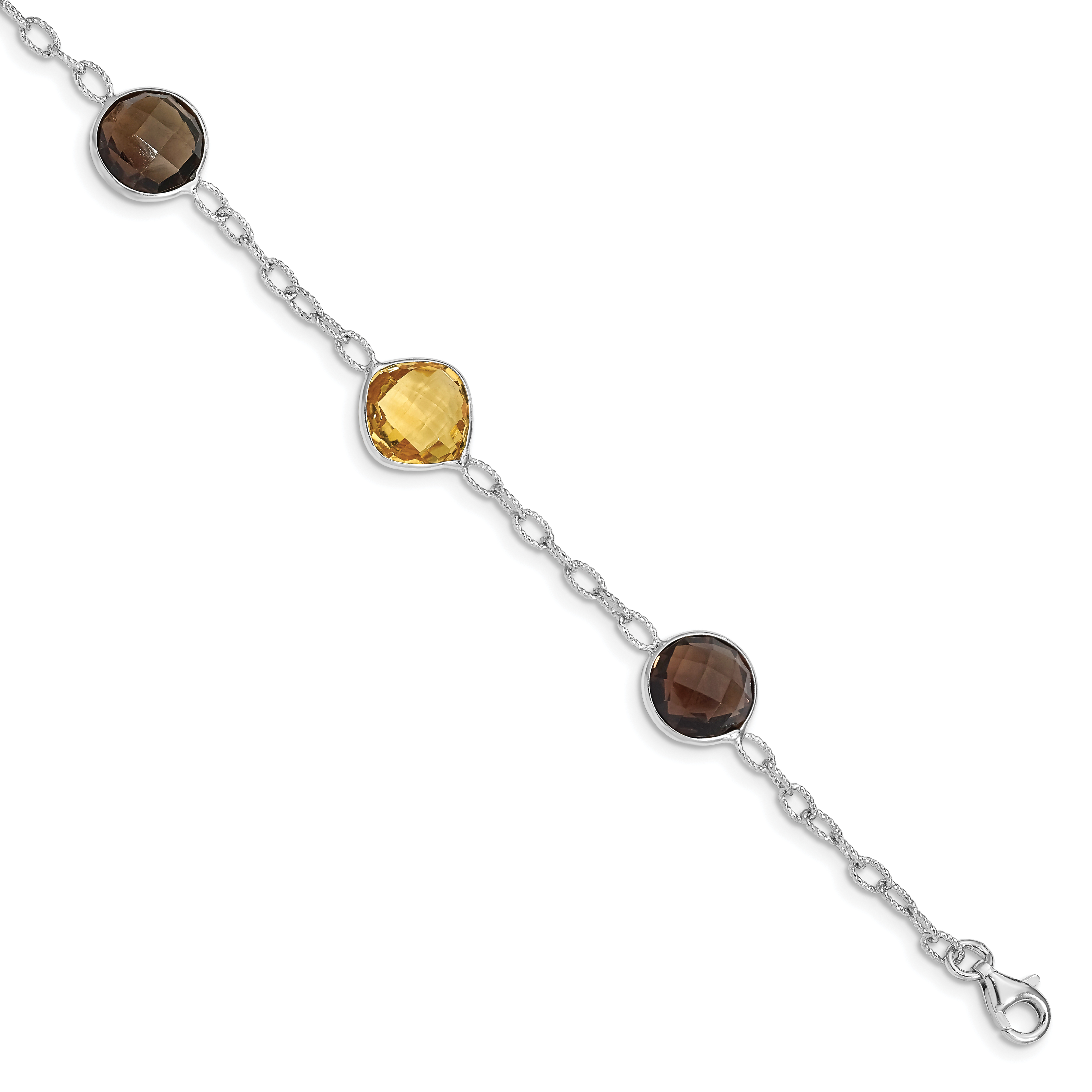 Image Is Loading Sterling Silver Rhodium Plated Citrine Amp Smoky Quartz