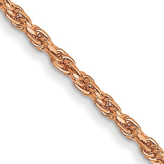 14K Rose Gold 1mm D/C Rope