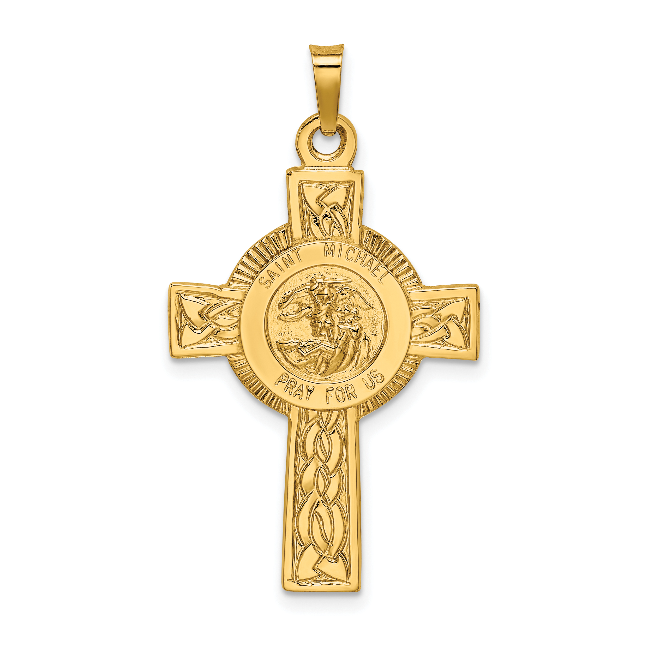 gold michaels ebay michael polished itm archangel st pendant