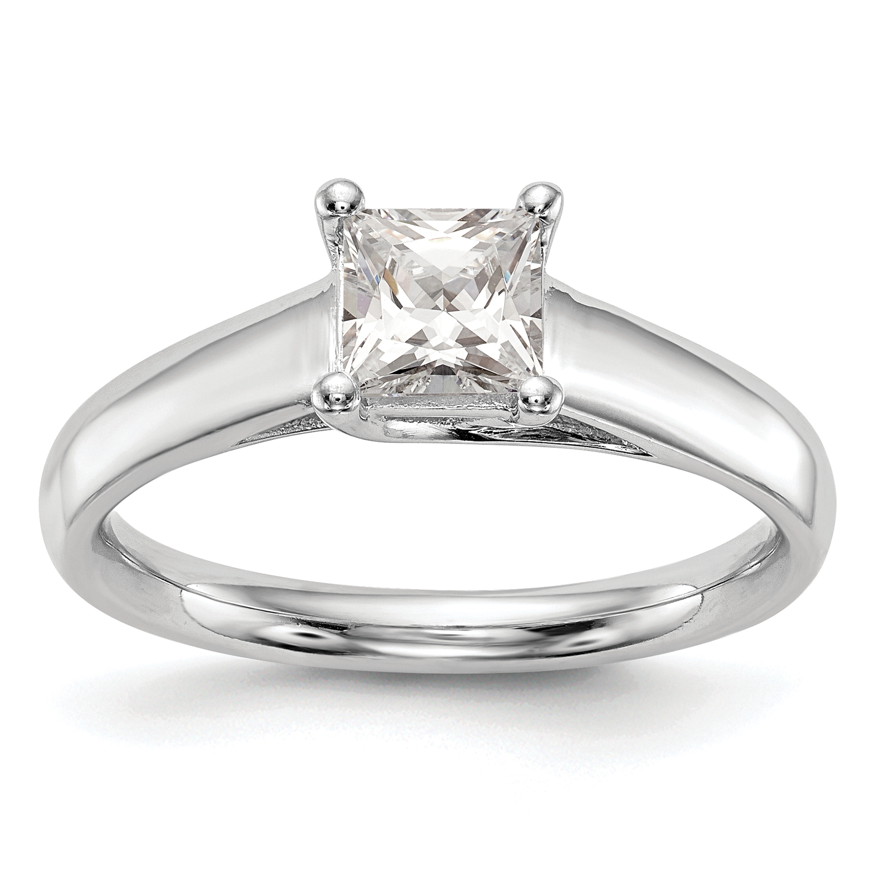 14k White Gold Square Solitaire Engagement Ring Mounting