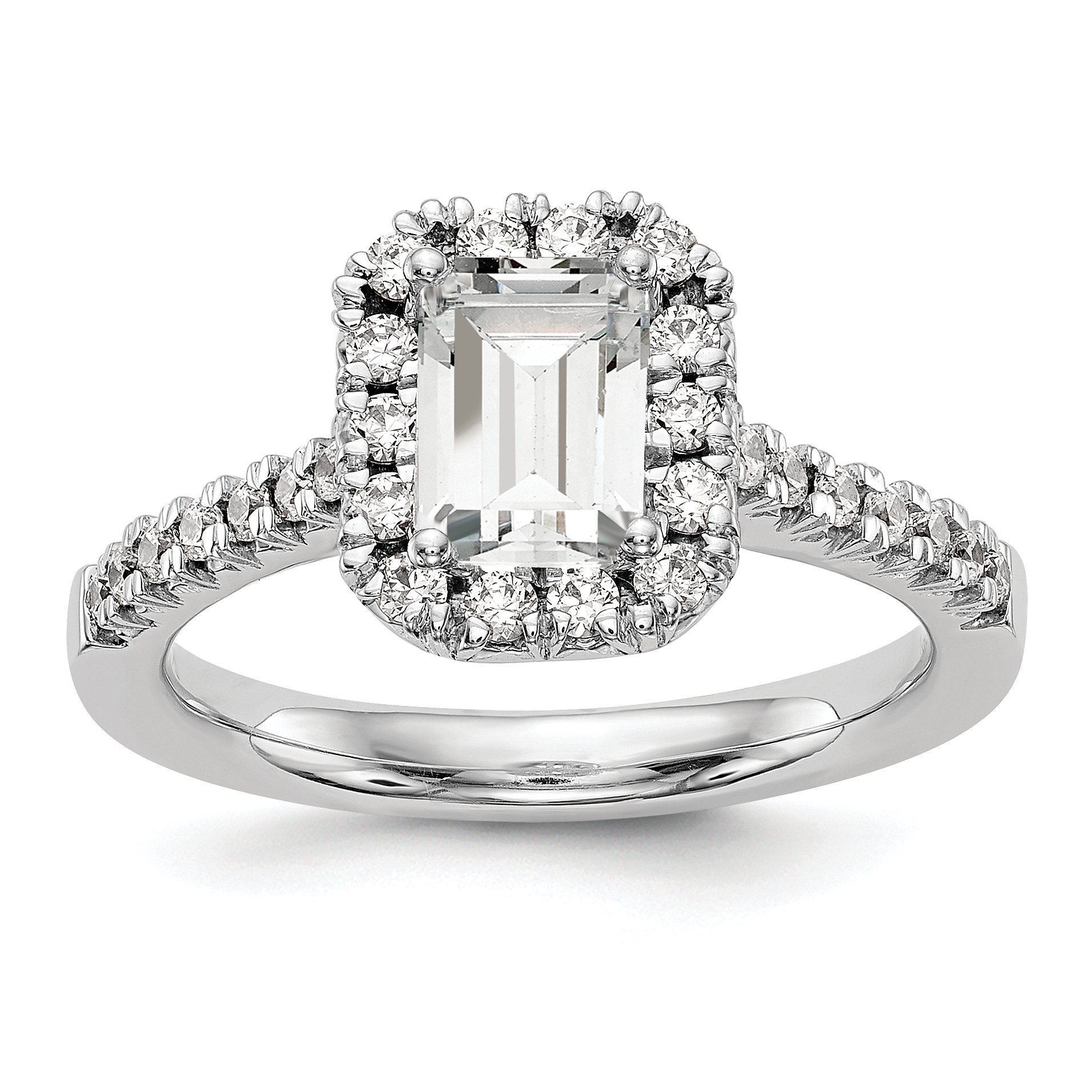 14k White Emerald Shape Halo Engagement Diamond Semi-mount Ring