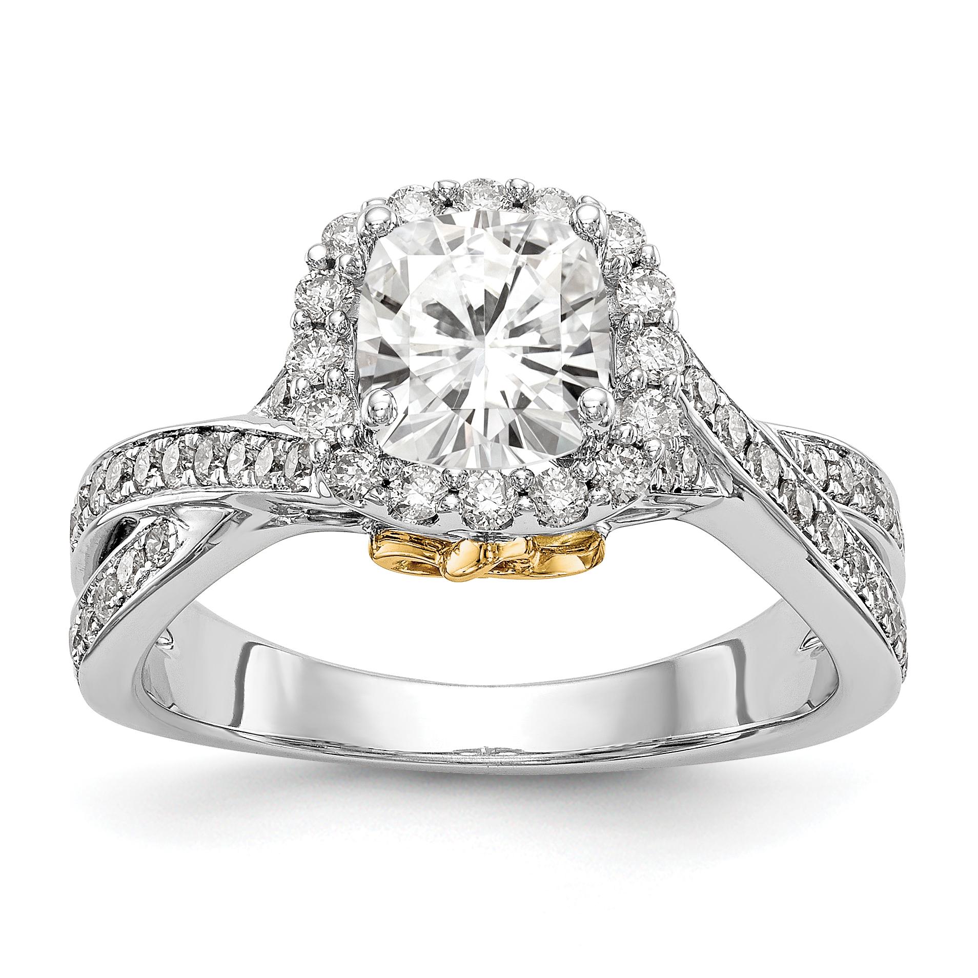 14K Two Tone Diamond Cushion Semi-Mount Cushion Halo Engagement Ring