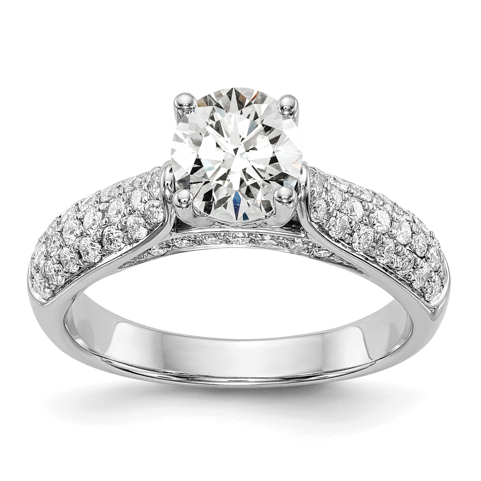 14k White gold Semi Mount Engagement Ring by True Origin.  0.75ct Round Brillian
