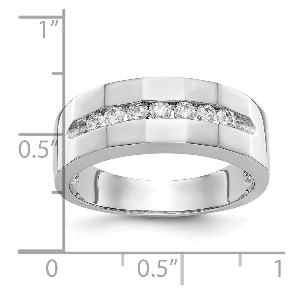 2a6a5fb8d511 14k Blanco Oro Fino Diamante Brillante Hombres Banda Total